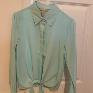 Teal banana republic blouse with tie